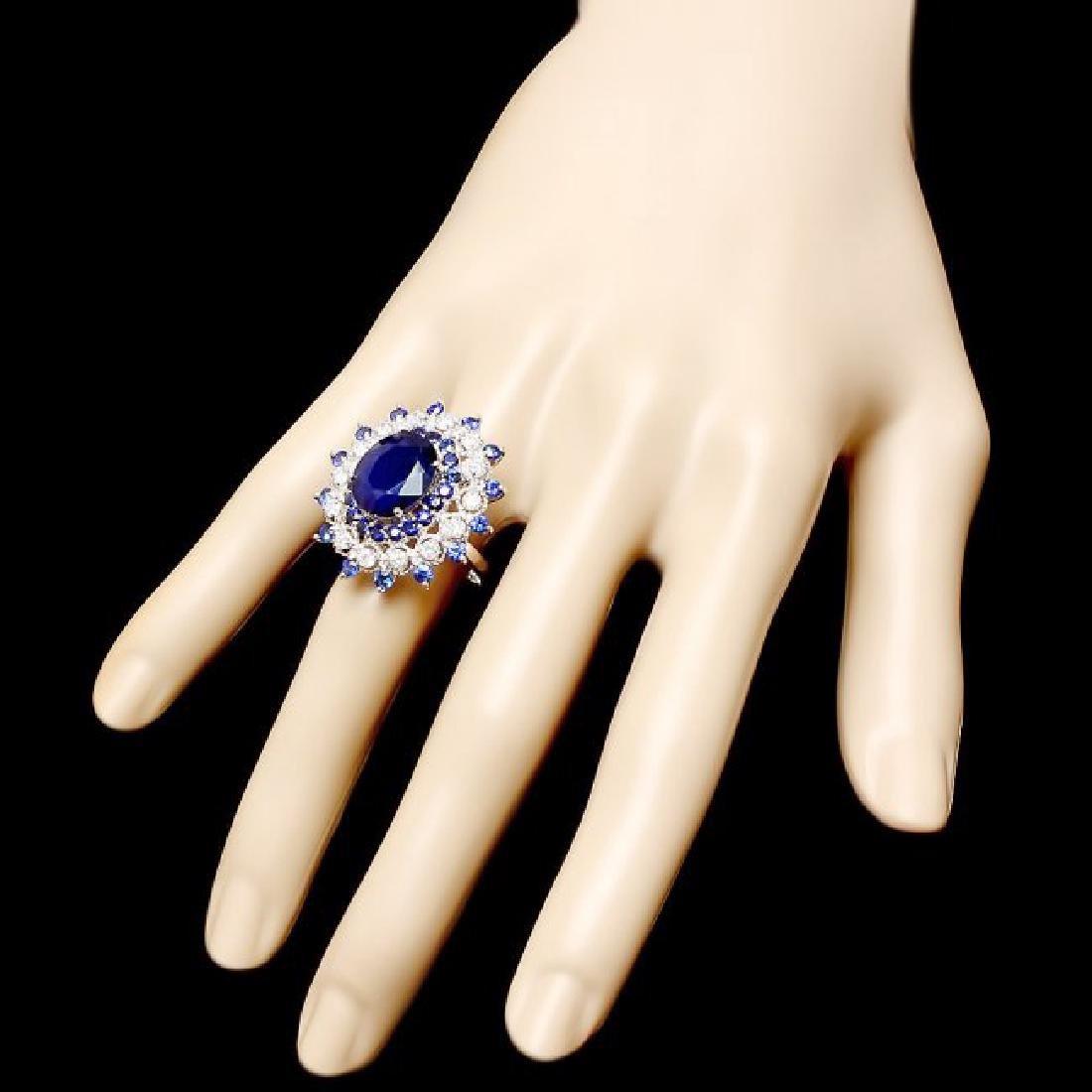 14k White Gold 9ct Sapphire 0.90ct Diamond Ring - 3