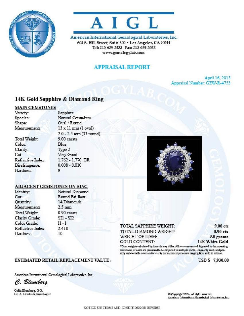 14k White Gold 9ct Sapphire 0.90ct Diamond Ring - 4