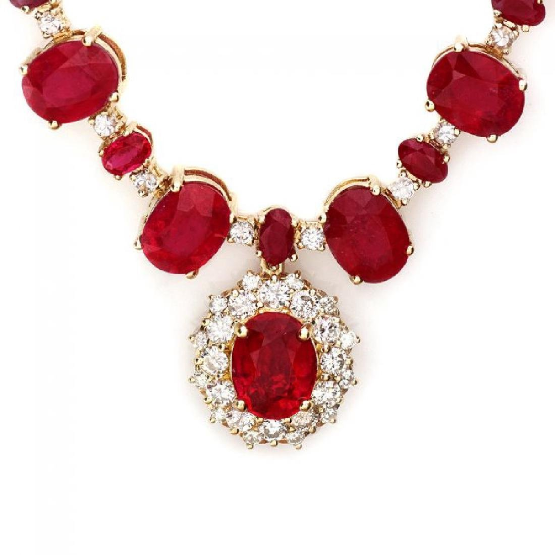 14k Gold 72.00ct Ruby 1.30ct Diamond Necklace - 2