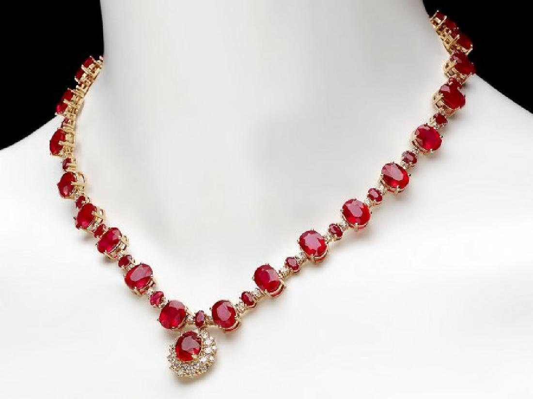 14k Gold 72.00ct Ruby 1.30ct Diamond Necklace - 7