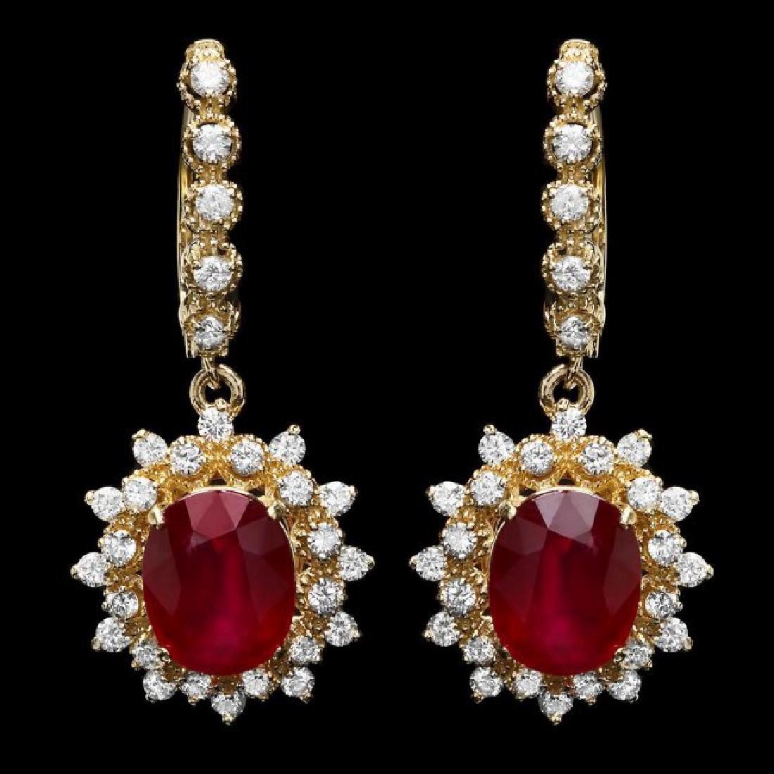 14k Gold 8.00ct Ruby 1.60ct Diamond Earrings - 2