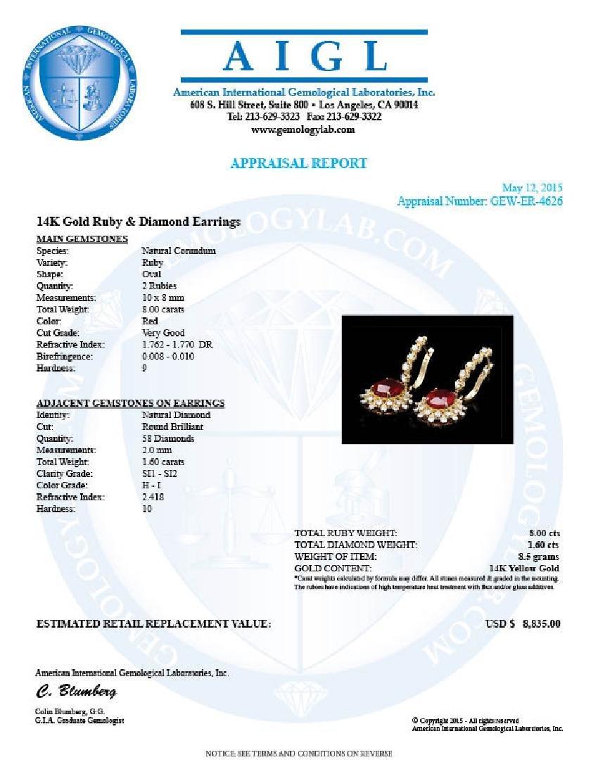 14k Gold 8.00ct Ruby 1.60ct Diamond Earrings - 3