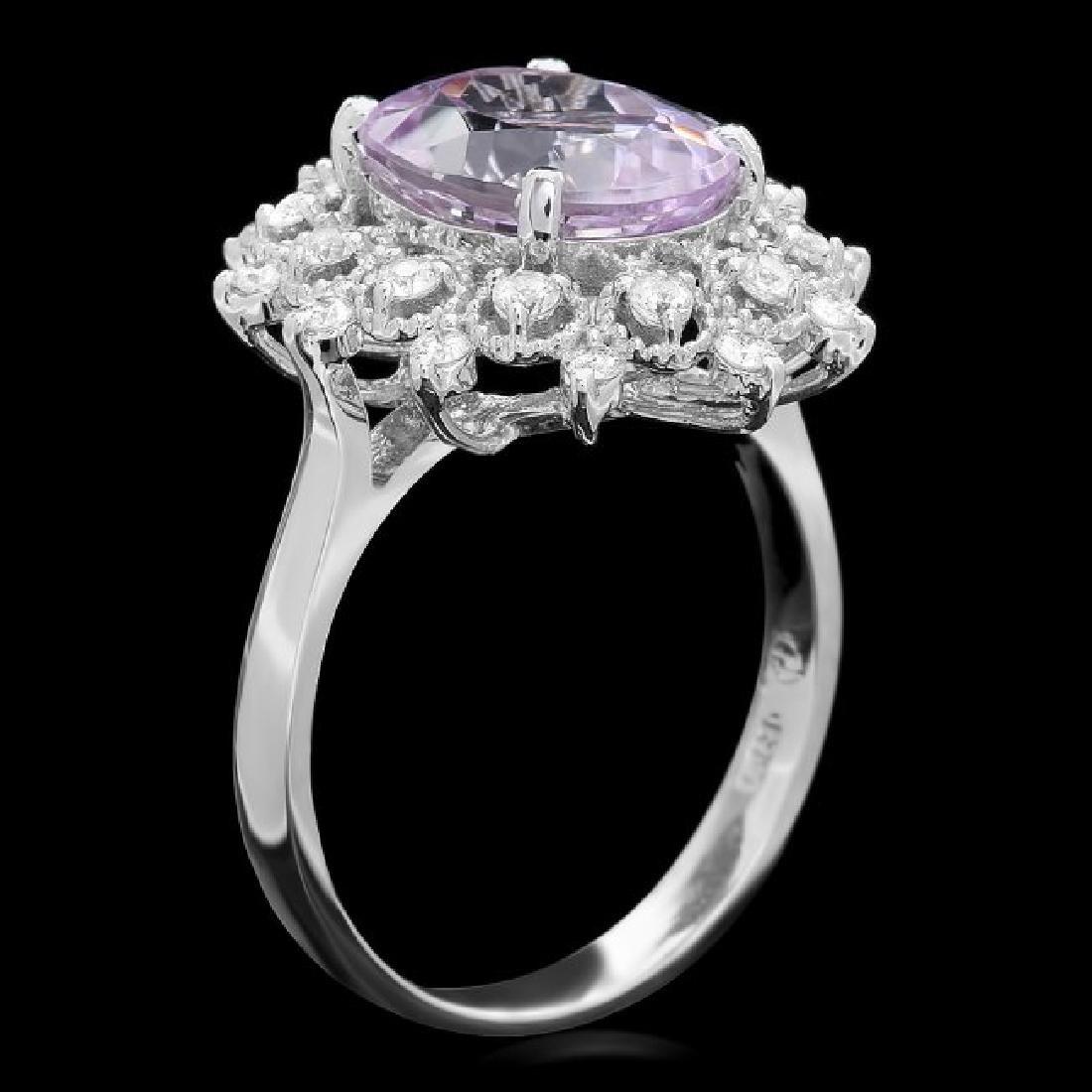 14k White Gold 4.50ct Kunzite 0.55ct Diamond Ring - 2