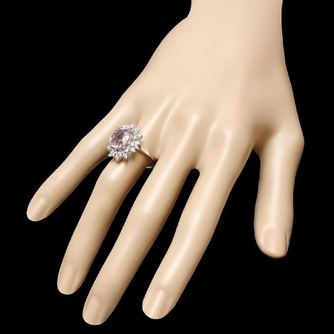 14k White Gold 4.50ct Kunzite 0.55ct Diamond Ring - 3