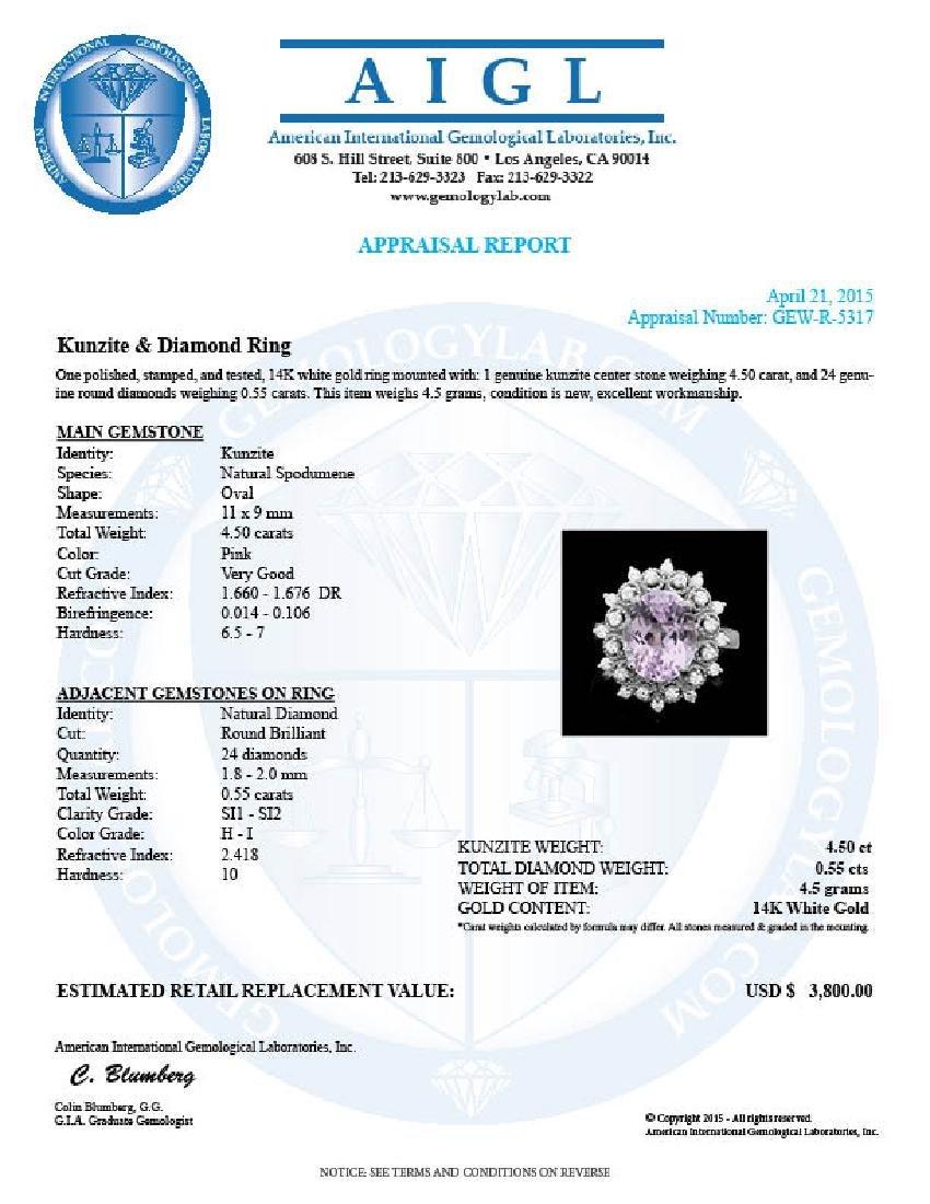 14k White Gold 4.50ct Kunzite 0.55ct Diamond Ring - 4