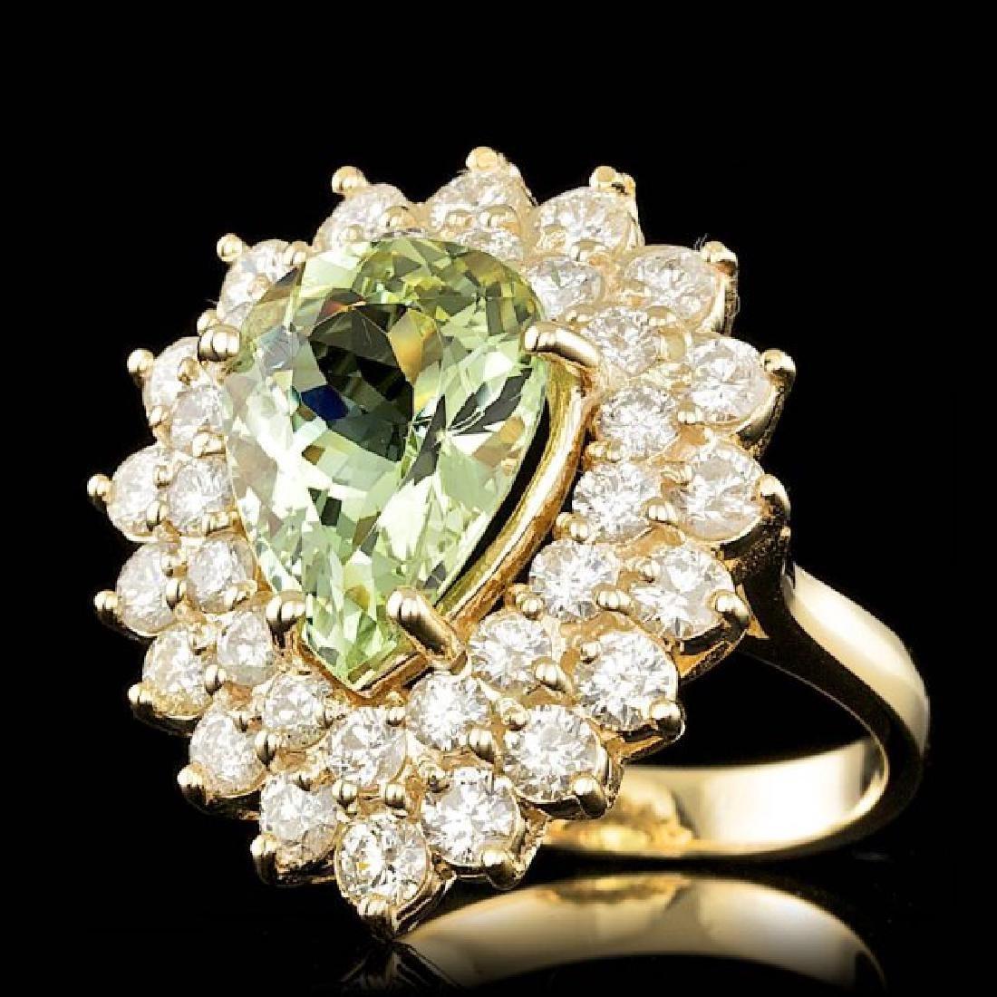 14k Yellow Gold 4.00ct Beryl 2.25ct Diamond Ring - 2