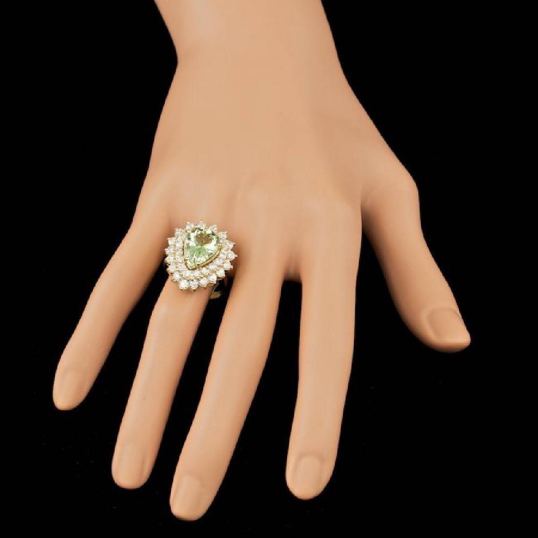 14k Yellow Gold 4.00ct Beryl 2.25ct Diamond Ring - 3