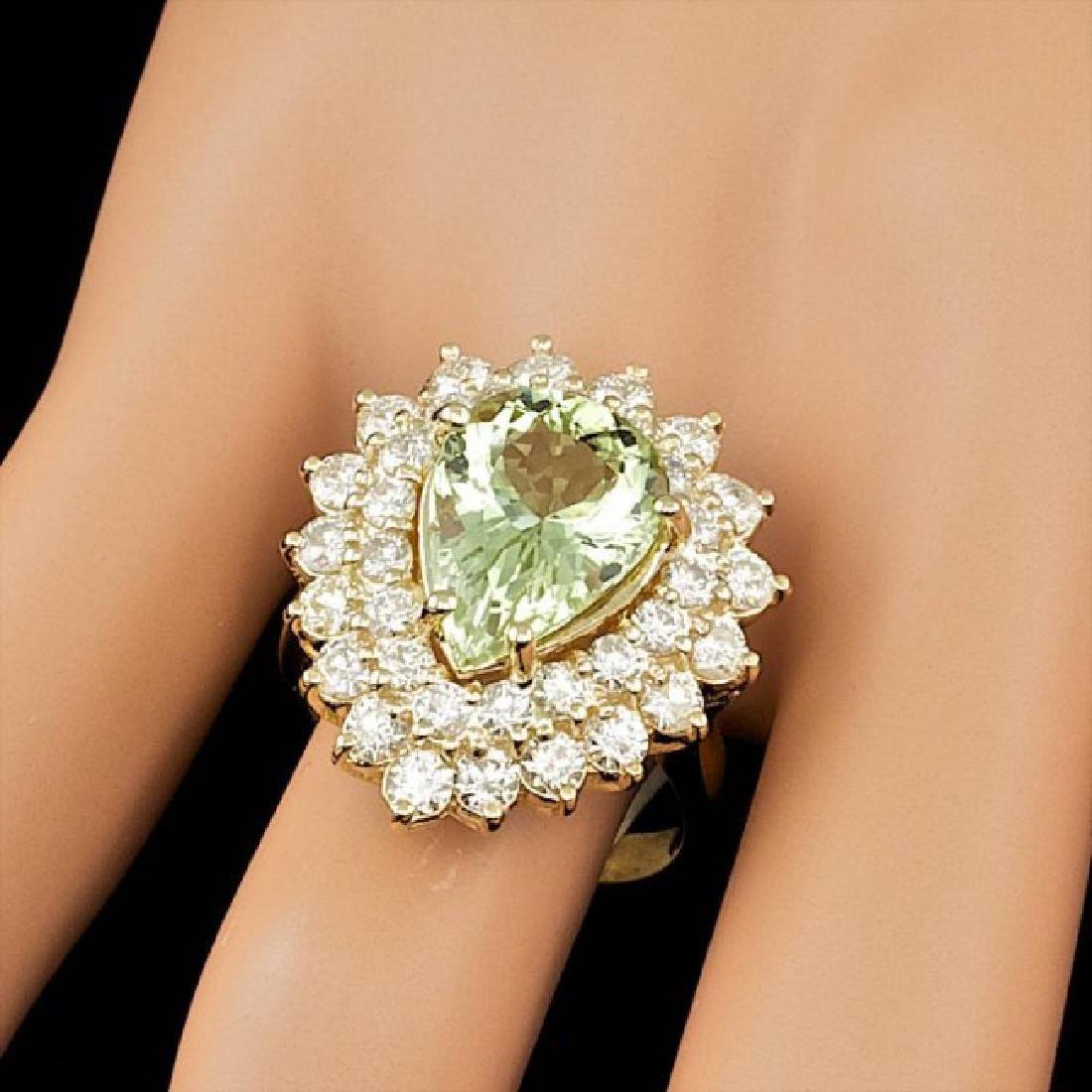 14k Yellow Gold 4.00ct Beryl 2.25ct Diamond Ring - 4