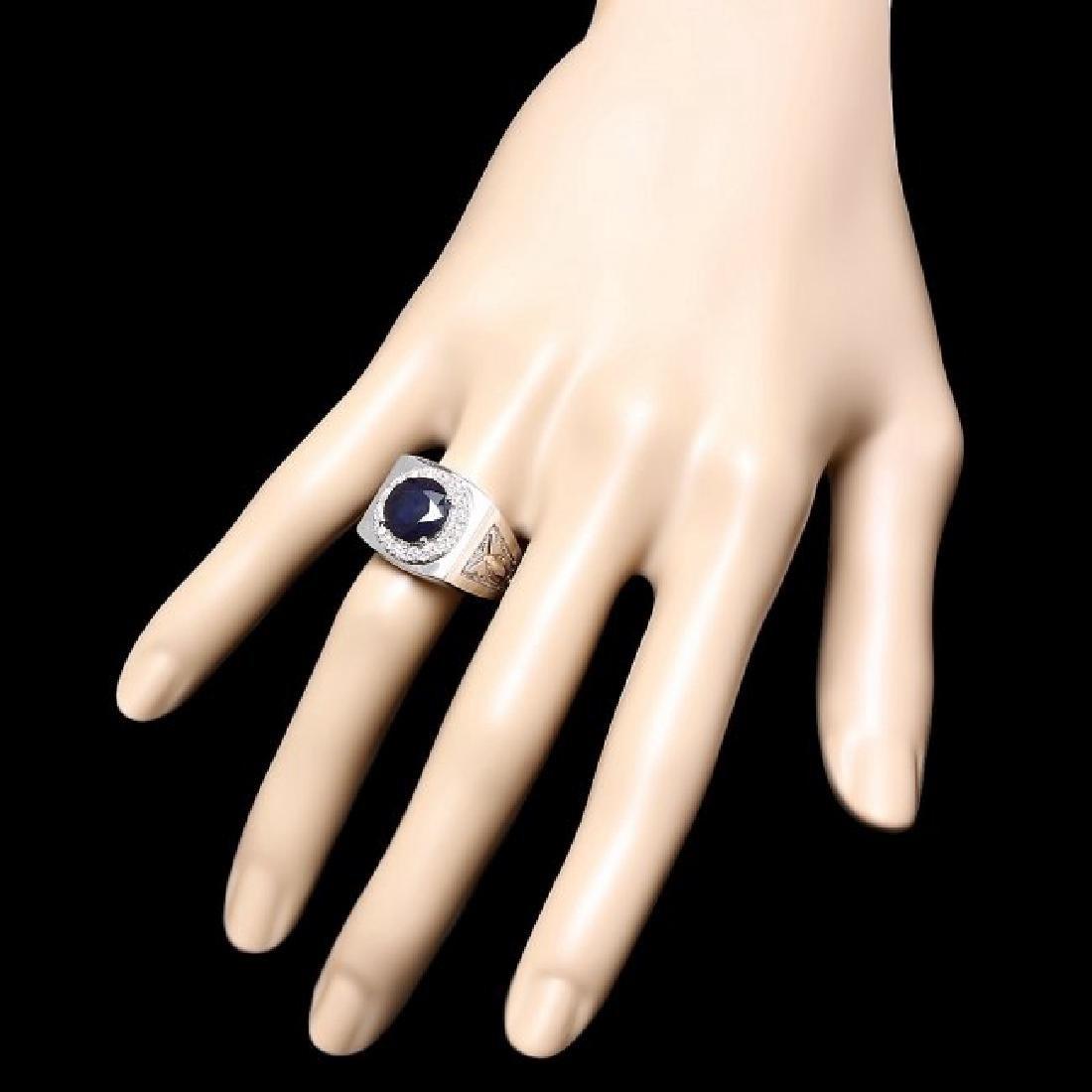 14k Gold 4.00ct Sapphire 0.60ct Diamond Mens Ring - 3