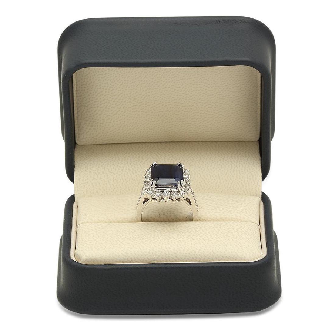 14K Gold 7.21ct Sapphire 1.25cts Diamond Ring - 4