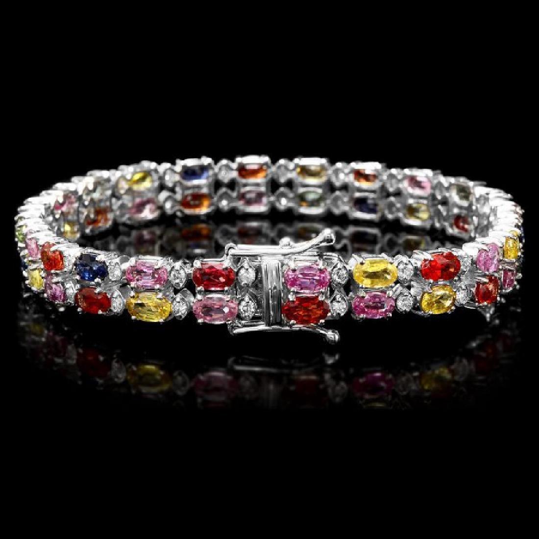 14k Gold 15.00ct Sapphire 1.10ct Diamond Bracelet - 2