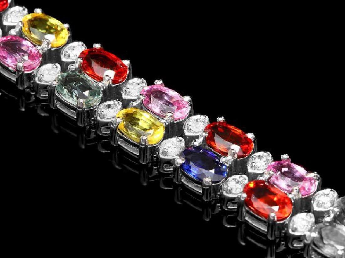 14k Gold 15.00ct Sapphire 1.10ct Diamond Bracelet - 3