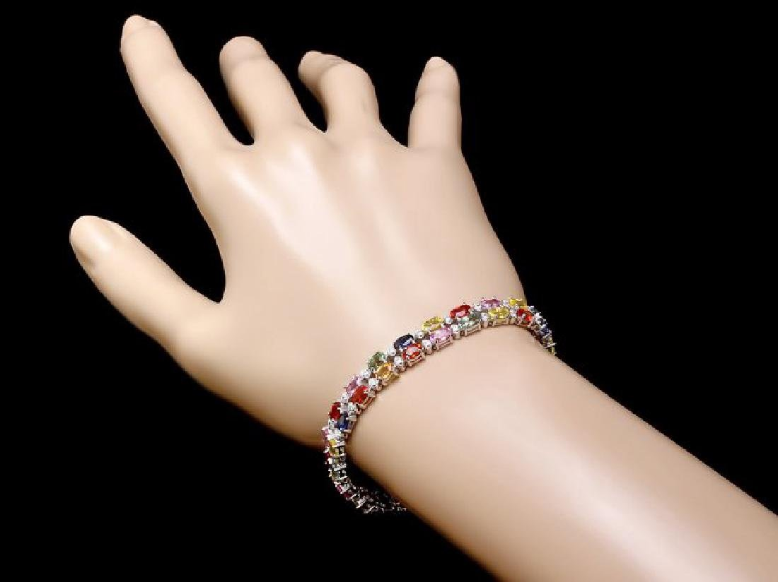 14k Gold 15.00ct Sapphire 1.10ct Diamond Bracelet - 4