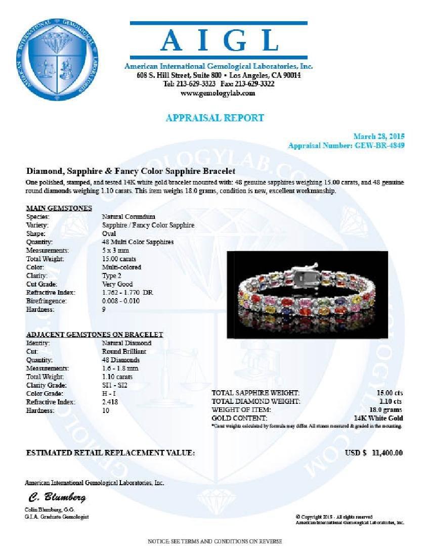 14k Gold 15.00ct Sapphire 1.10ct Diamond Bracelet - 6