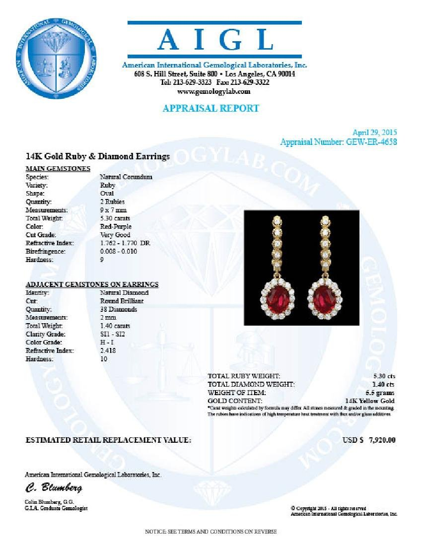 14k Gold 5.3ct Ruby 1.40ct Diamond Earrings - 3