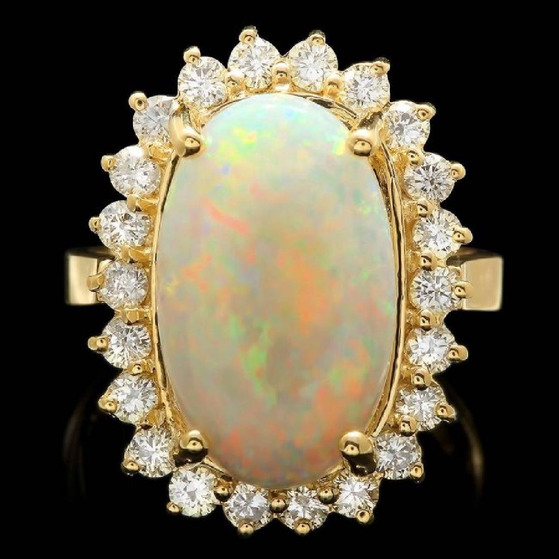 14k Yellow Gold 4.00ct Opal 1.10ct Diamond Ring
