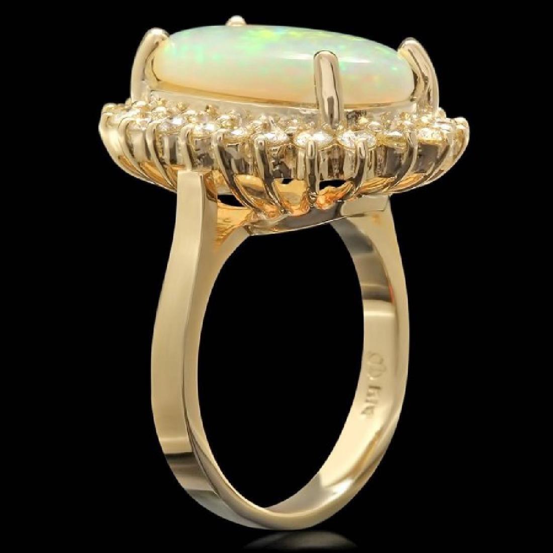 14k Yellow Gold 4.00ct Opal 1.10ct Diamond Ring - 2