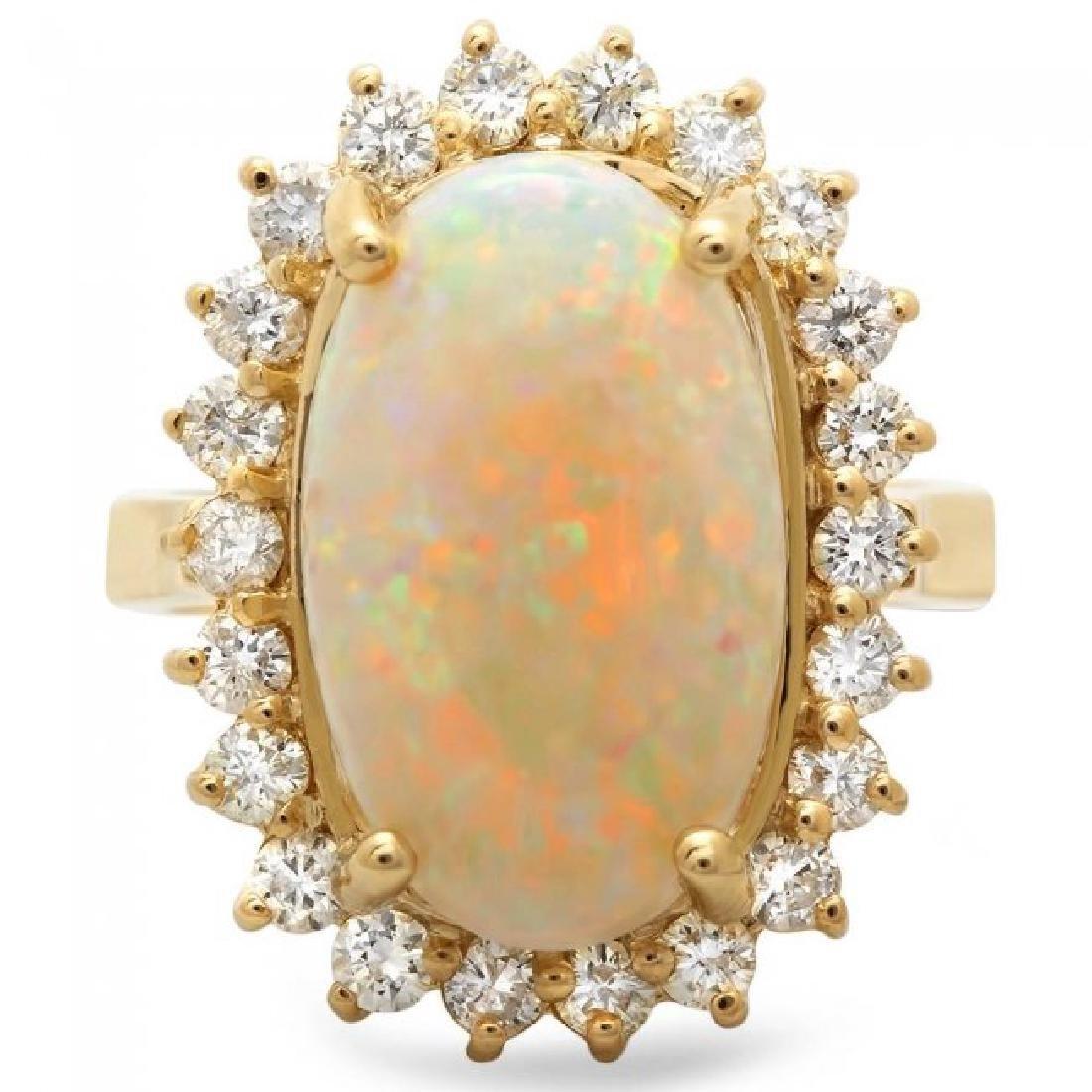 14k Yellow Gold 4.00ct Opal 1.10ct Diamond Ring - 3