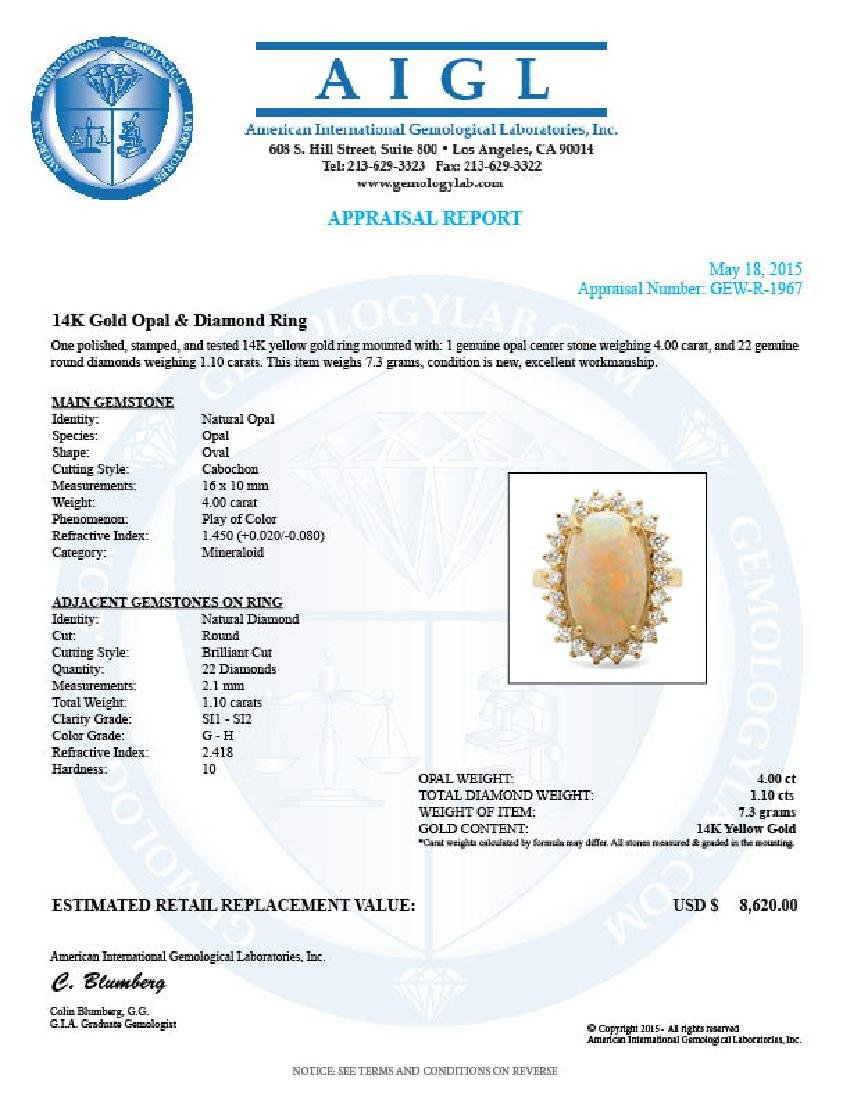 14k Yellow Gold 4.00ct Opal 1.10ct Diamond Ring - 5