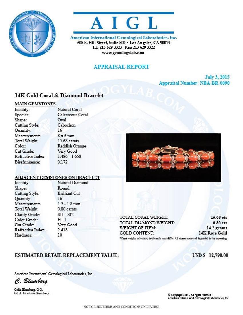 14K Gold 15.68ct Coral 0.80ct Diamond Bracelet - 4