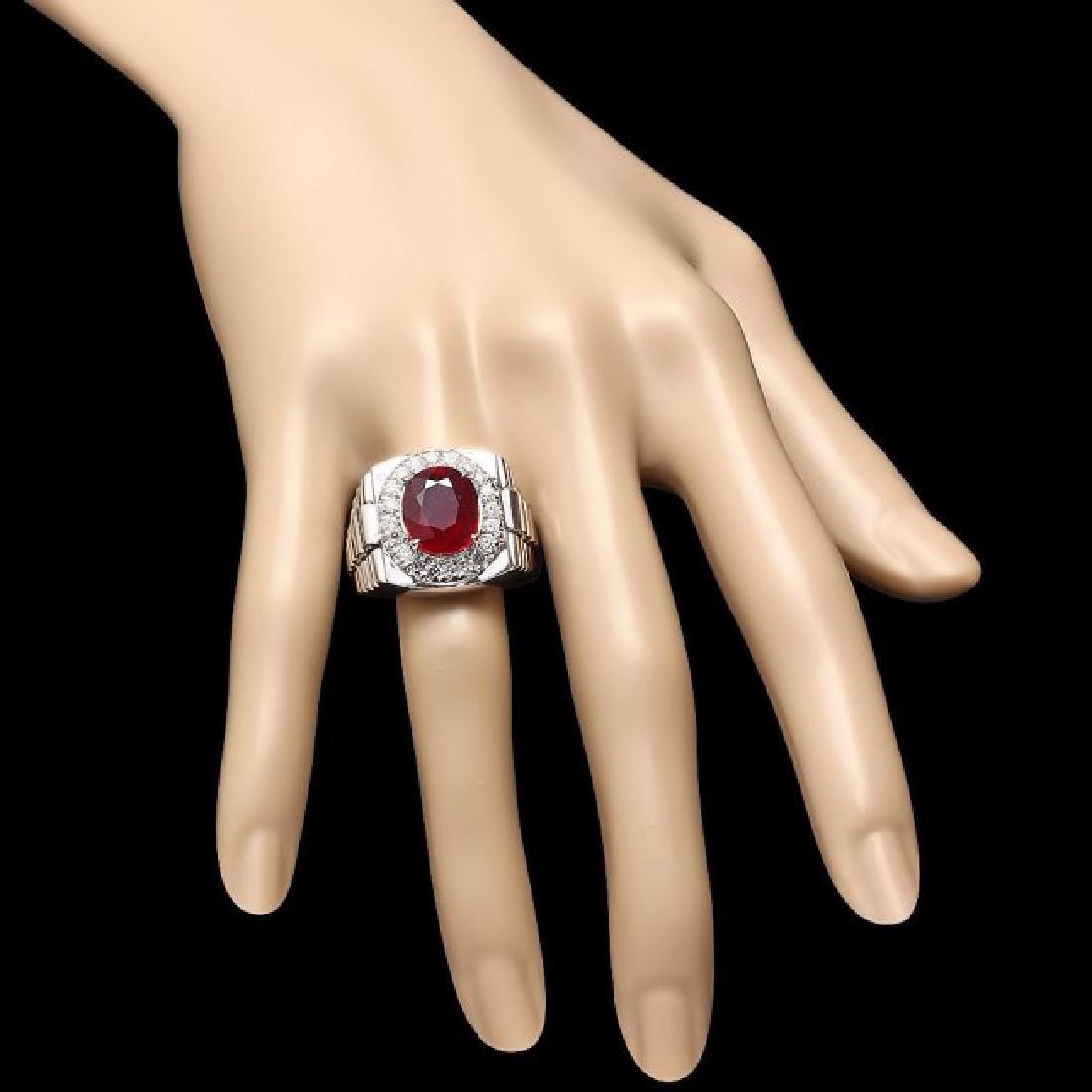 14k Gold 7.00ct Ruby 0.90ct Diamond Mens Ring - 4