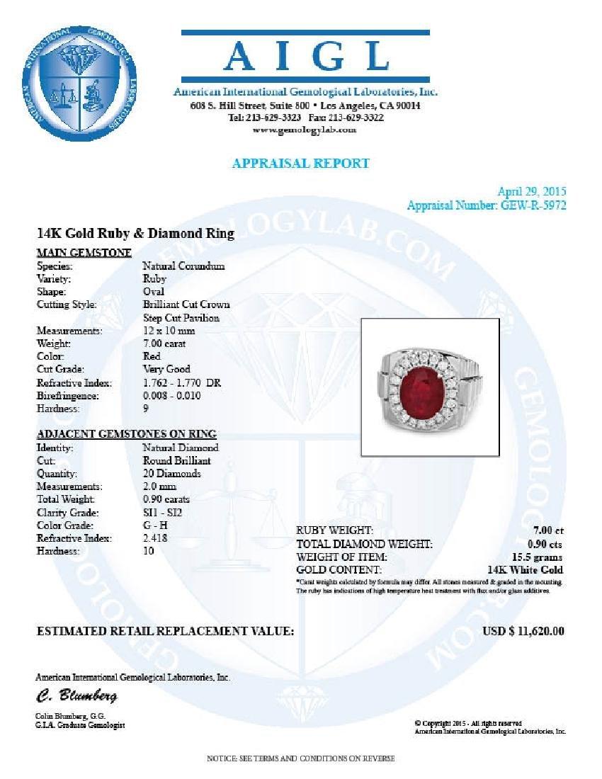 14k Gold 7.00ct Ruby 0.90ct Diamond Mens Ring - 5