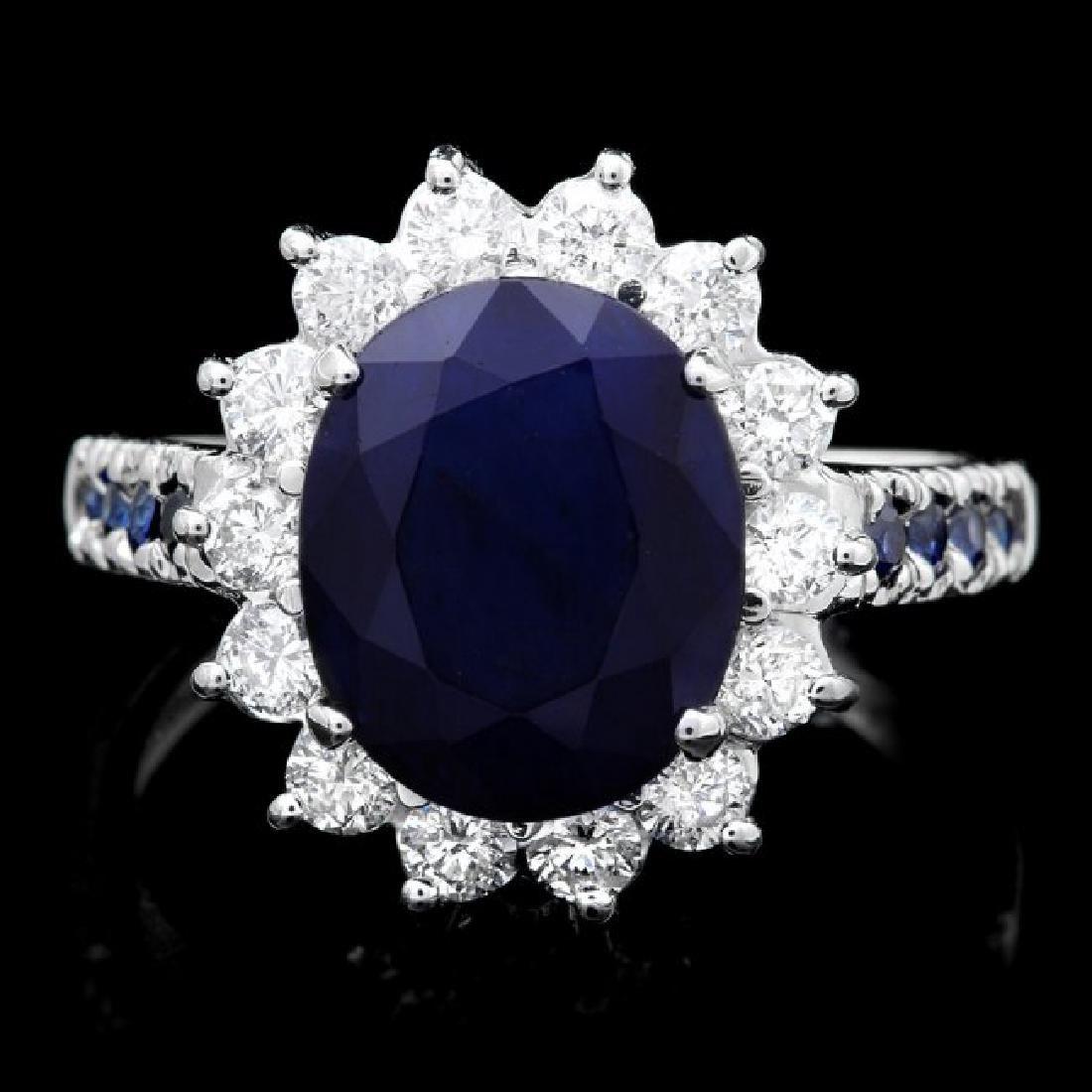 14k White Gold 4.3ct Sapphire 0.80ct Diamond Ring