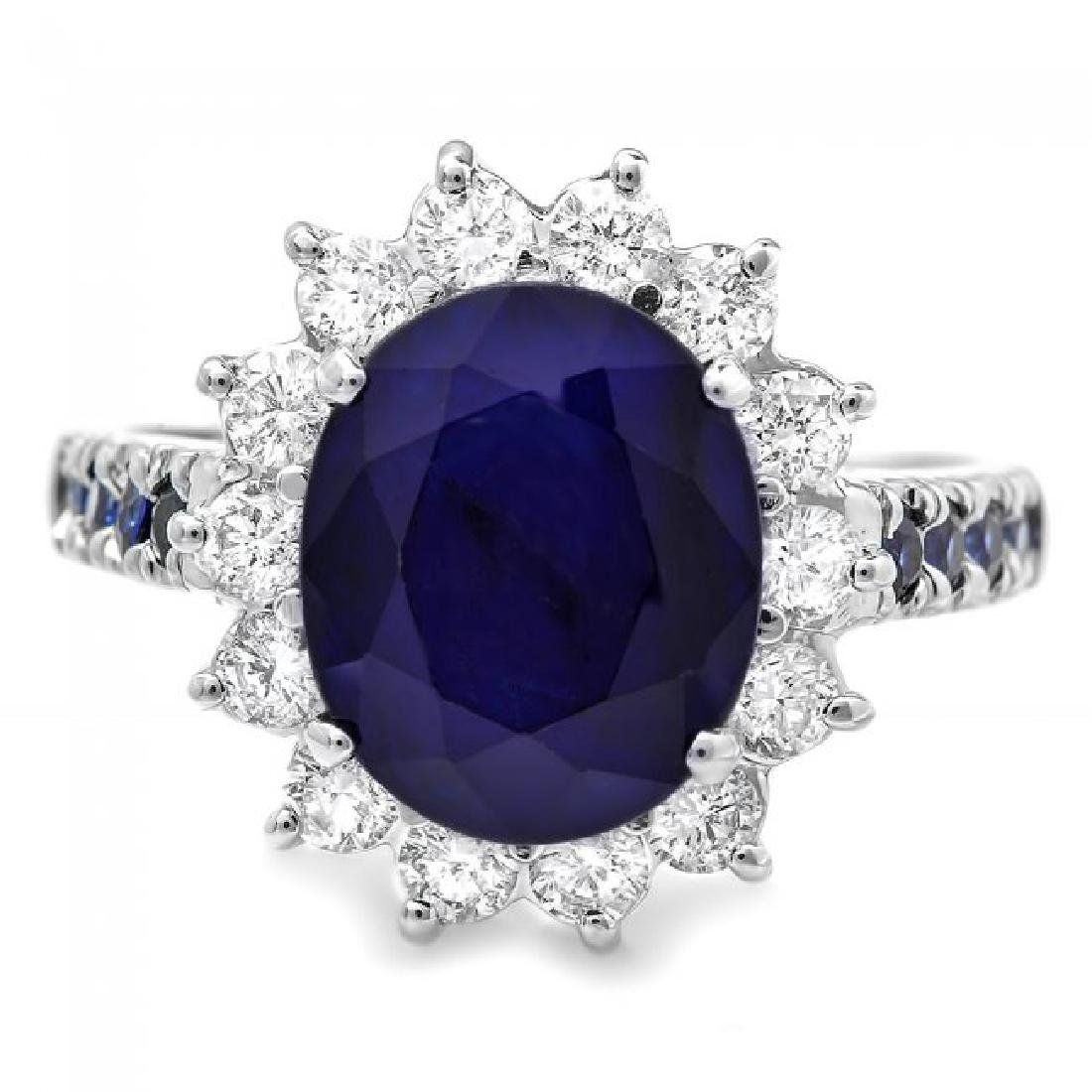 14k White Gold 4.3ct Sapphire 0.80ct Diamond Ring - 2