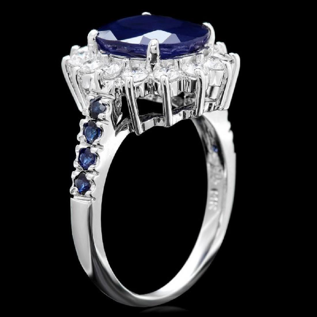14k White Gold 4.3ct Sapphire 0.80ct Diamond Ring - 3
