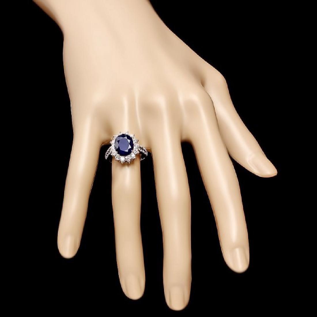 14k White Gold 4.3ct Sapphire 0.80ct Diamond Ring - 4