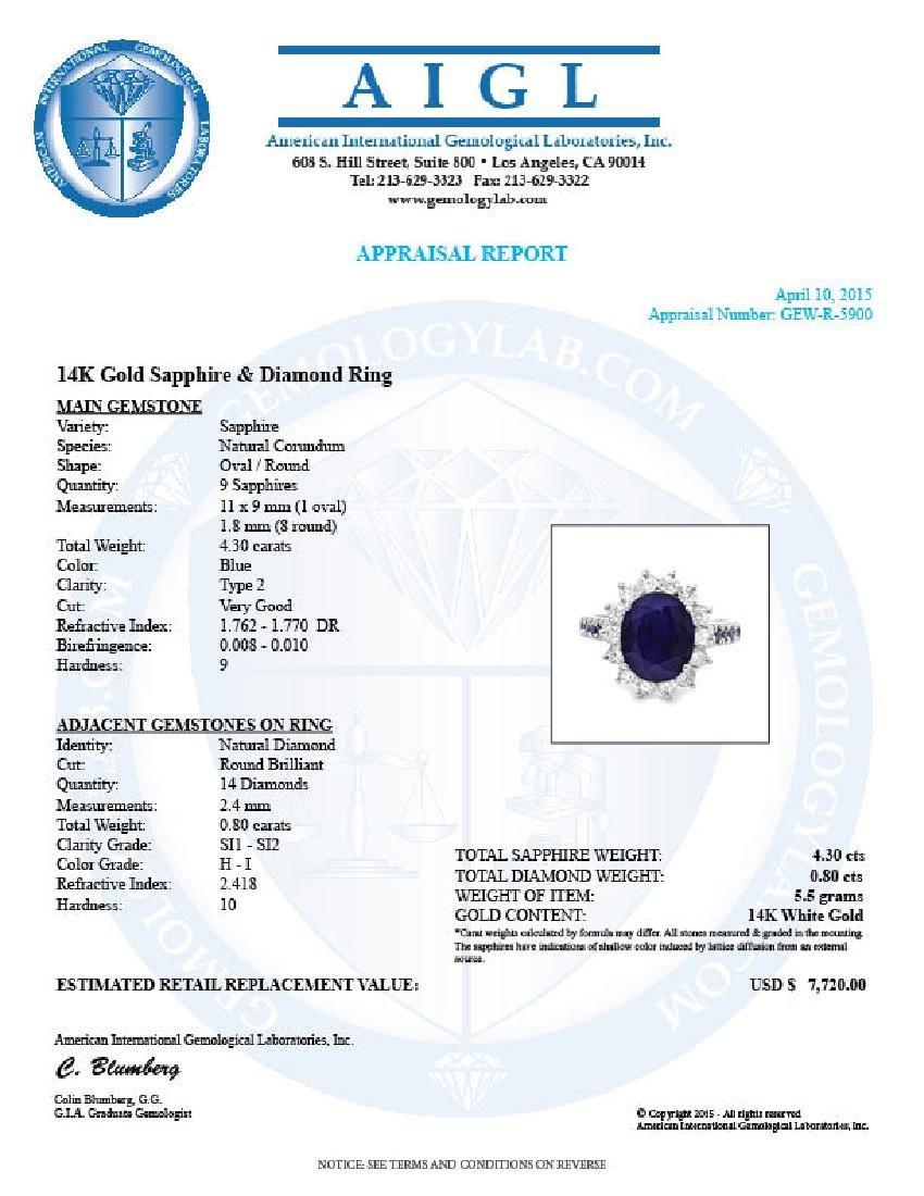 14k White Gold 4.3ct Sapphire 0.80ct Diamond Ring - 5