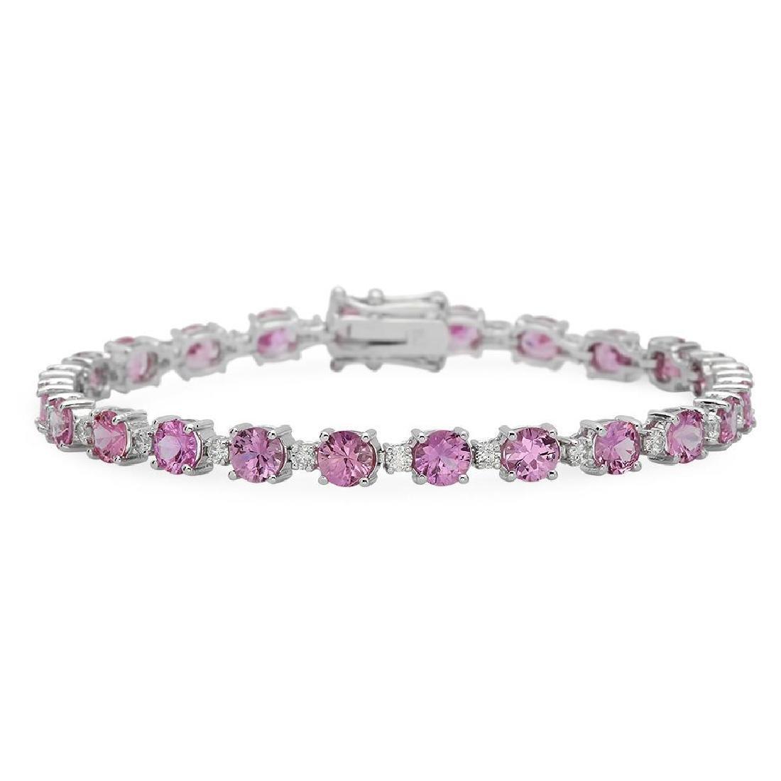 18K Gold 10.12ct Sapphire 0.96ct Diamond Bracelet