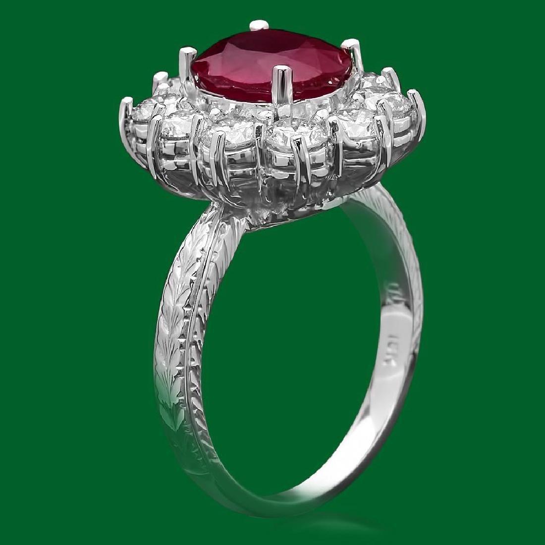 14k Gold 3.21ct Ruby 2.02ct Diamond Ring - 2