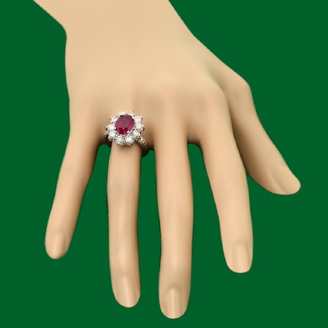 14k Gold 3.21ct Ruby 2.02ct Diamond Ring - 3