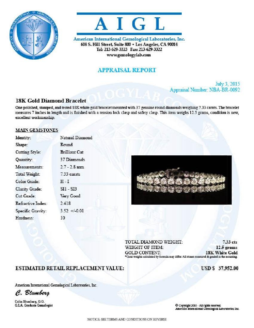 18K Gold 7.33ct Diamond Bracelet - 4