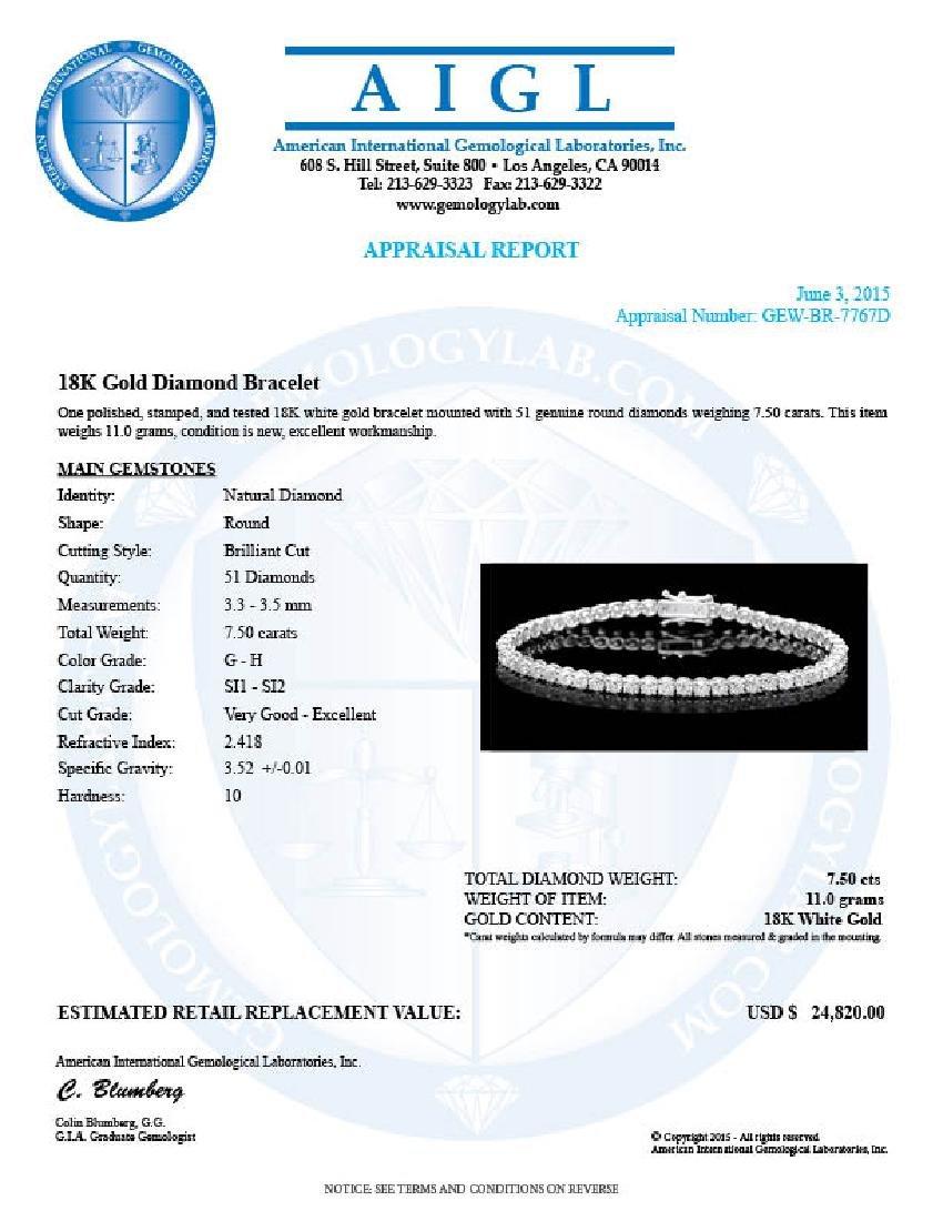 18k White Gold 7.50ct Diamond Bracelet - 6