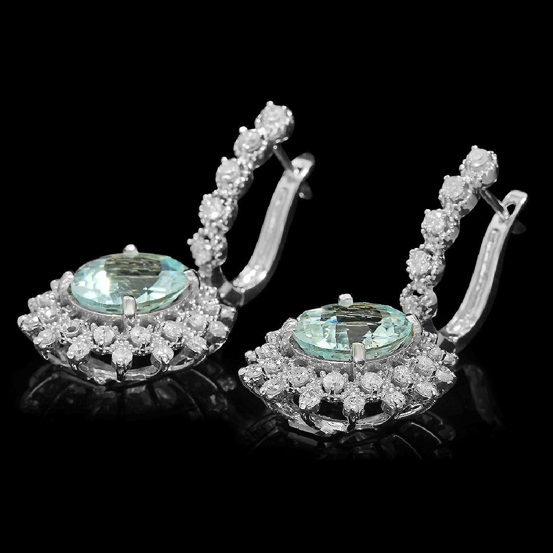 14K Gold 6.28ct Aquamarine 1.60ct Diamond Earrings - 2