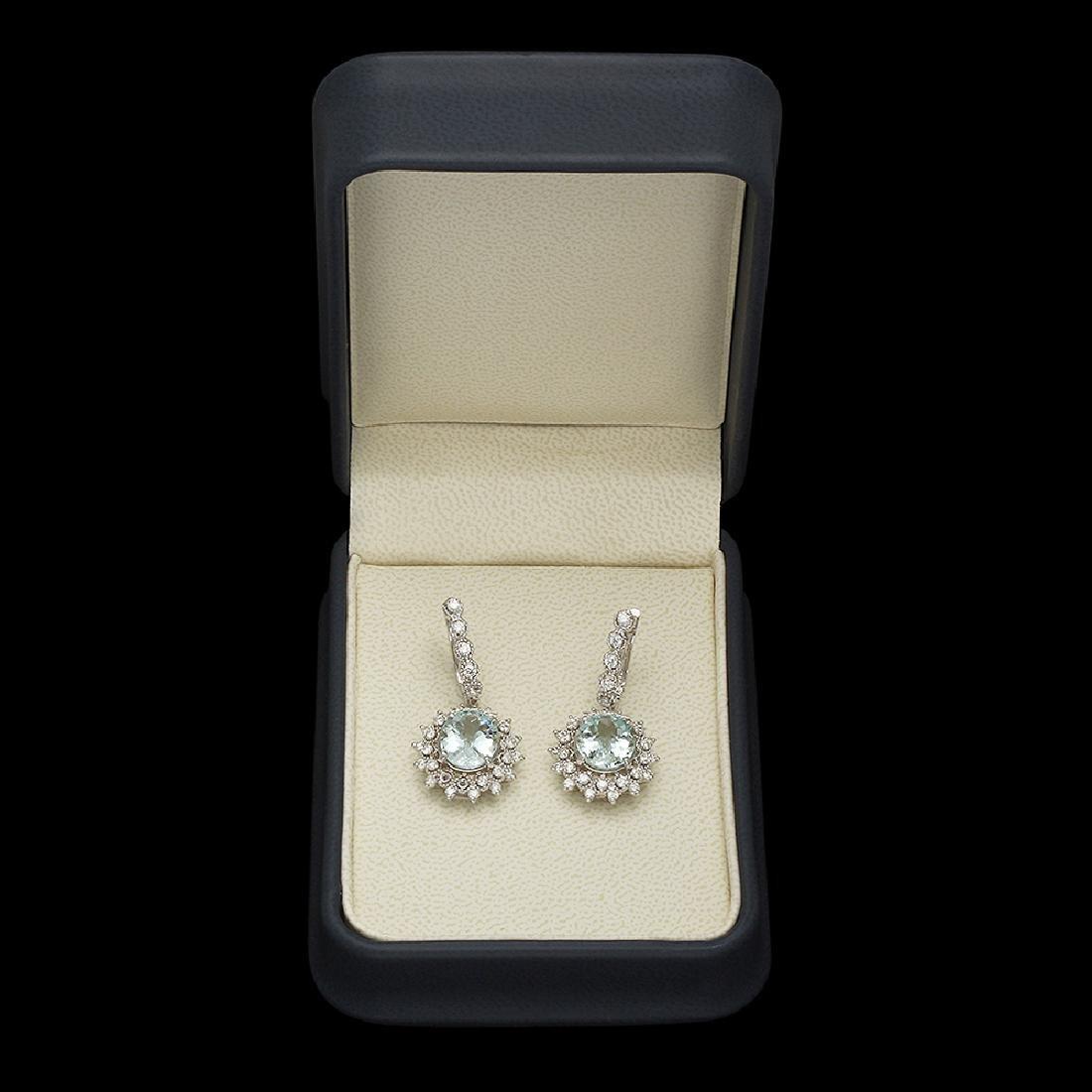 14K Gold 6.28ct Aquamarine 1.60ct Diamond Earrings - 3