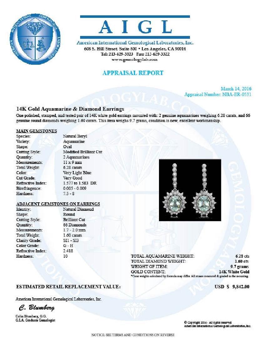 14K Gold 6.28ct Aquamarine 1.60ct Diamond Earrings - 4