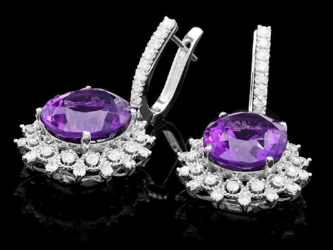 14k Gold 15.00ct Amethyst 2.00ct Diamond Earrings