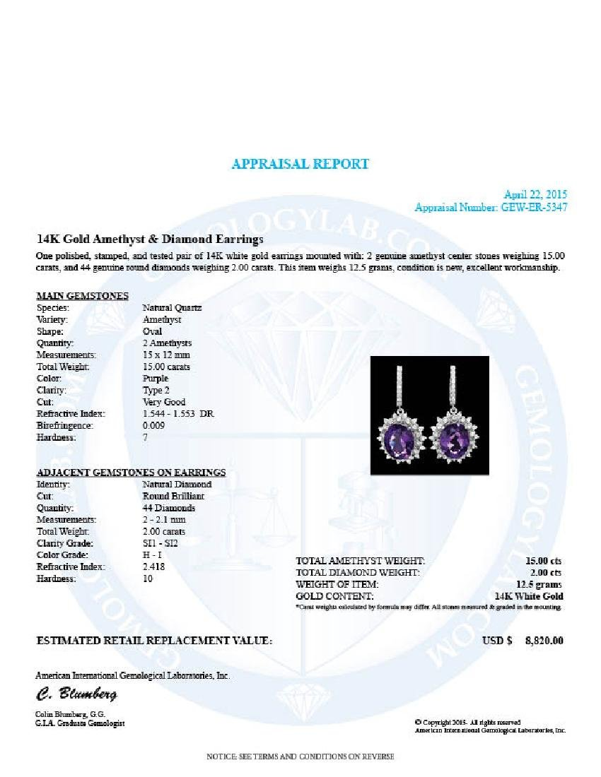 14k Gold 15.00ct Amethyst 2.00ct Diamond Earrings - 4