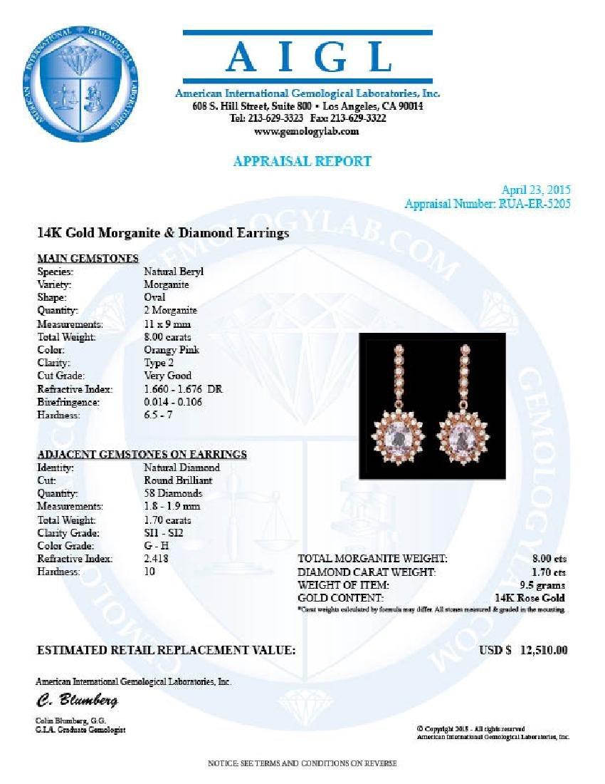 14k Rose 8.00ct Kunzite 1.70ct Diamond Earrings - 3