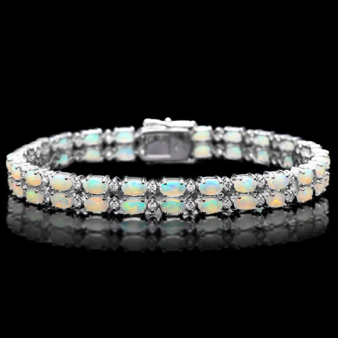 14k Gold 6.50ct Opal 1.20ct Diamond Bracelet