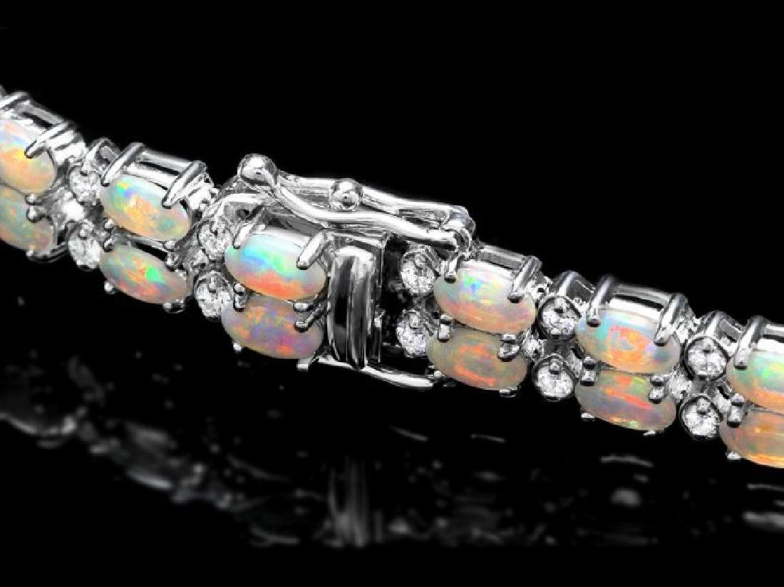 14k Gold 6.50ct Opal 1.20ct Diamond Bracelet - 3