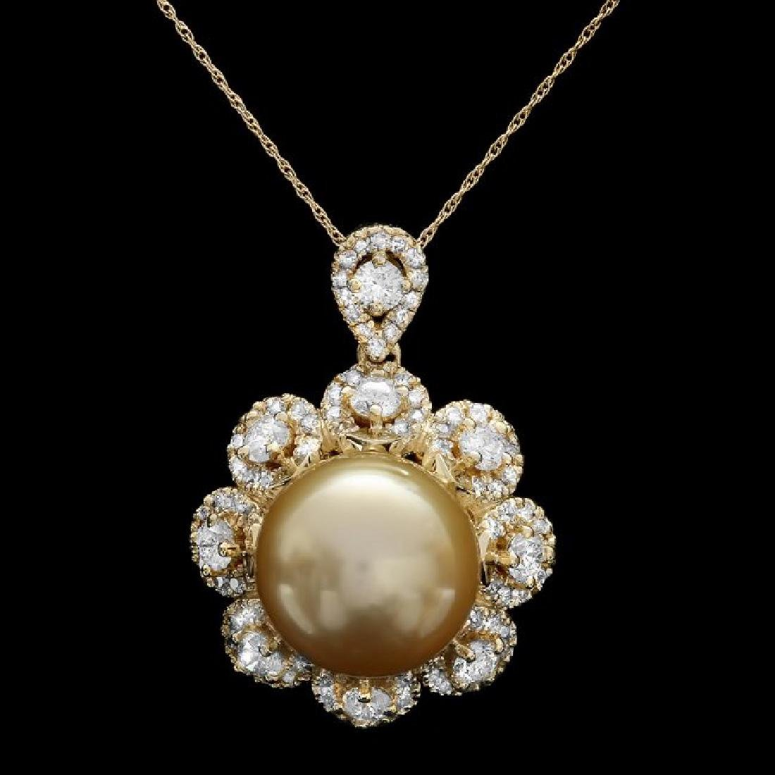 14k Yellow Gold 15mm Pearl 3.00ct Diamond Pendant - 2