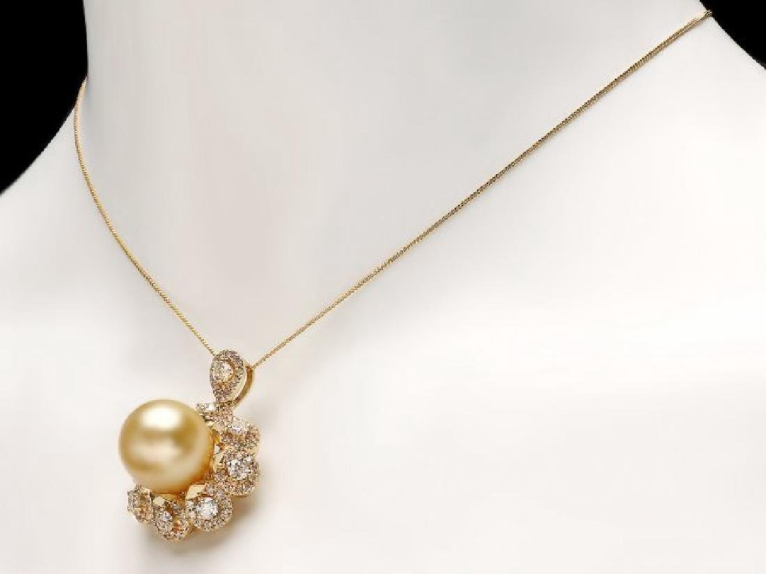 14k Yellow Gold 15mm Pearl 3.00ct Diamond Pendant - 3