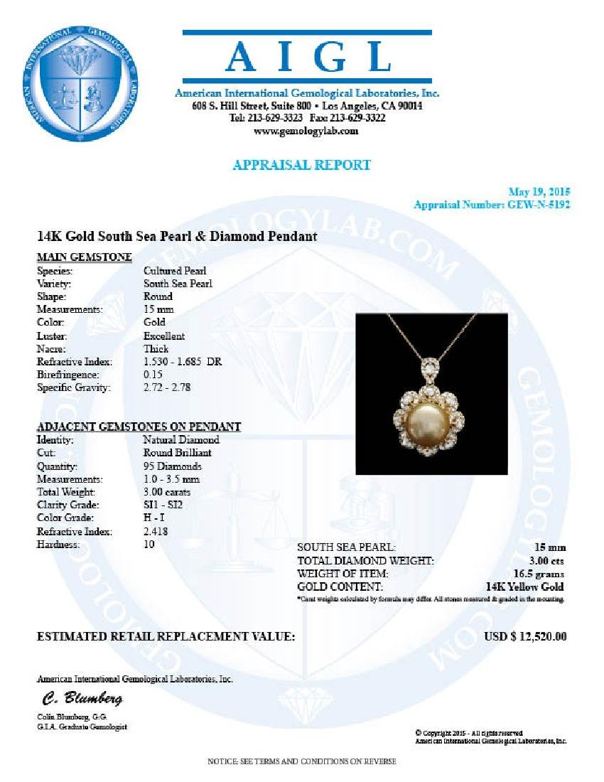 14k Yellow Gold 15mm Pearl 3.00ct Diamond Pendant - 5