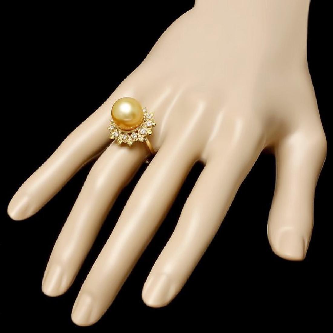 14k Yellow Gold 12mm Pearl 0.40ct Diamond Ring - 3