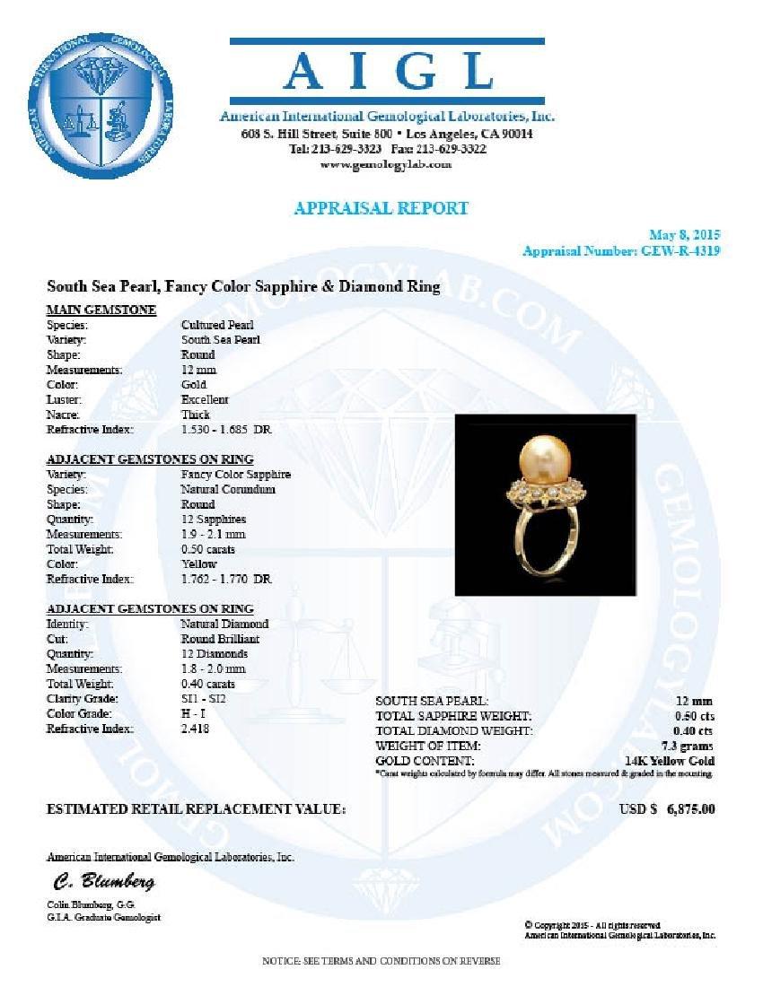 14k Yellow Gold 12mm Pearl 0.40ct Diamond Ring - 4