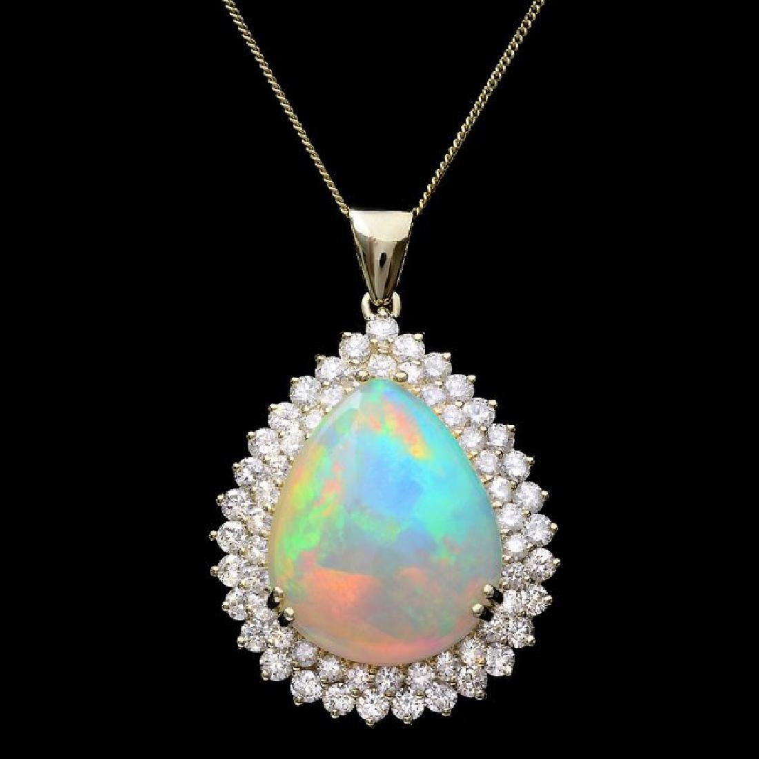 14k Gold 16.00ct Opal 3.50ct Diamond Pendant